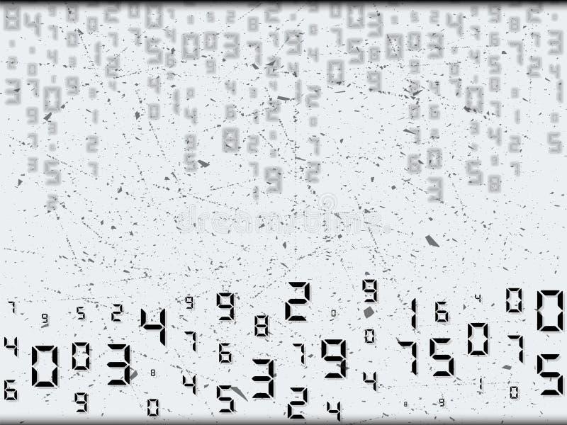 Ψηφιακός αφηρημένος κώδικας με τη γρατζουνιά των στοιχείων Τυχαία τοποθέτηση, διαφορετικά μεγέθη Διανυσματική απεικόνιση, υπόβαθρ ελεύθερη απεικόνιση δικαιώματος