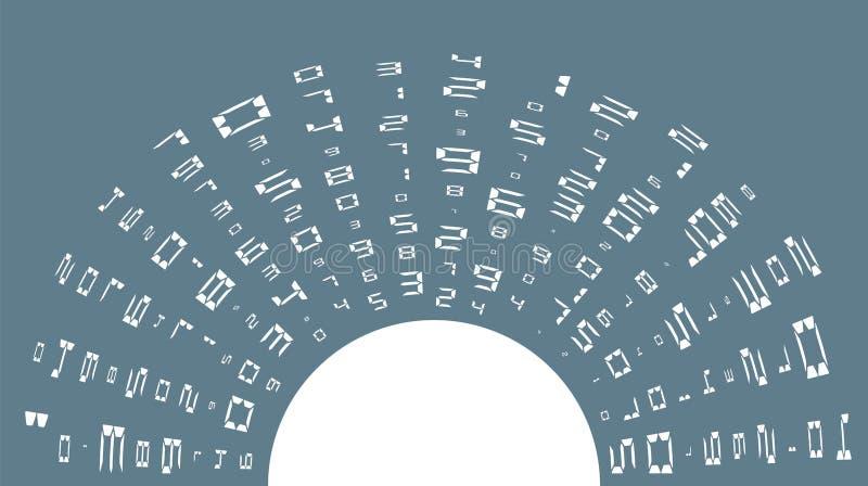 Ψηφιακός αφηρημένος κώδικας Τυχαία, αφηρημένη τοποθέτηση, διαφορετικά μεγέθη στην ομοιότητα του φωτός του ήλιου r διανυσματική απεικόνιση