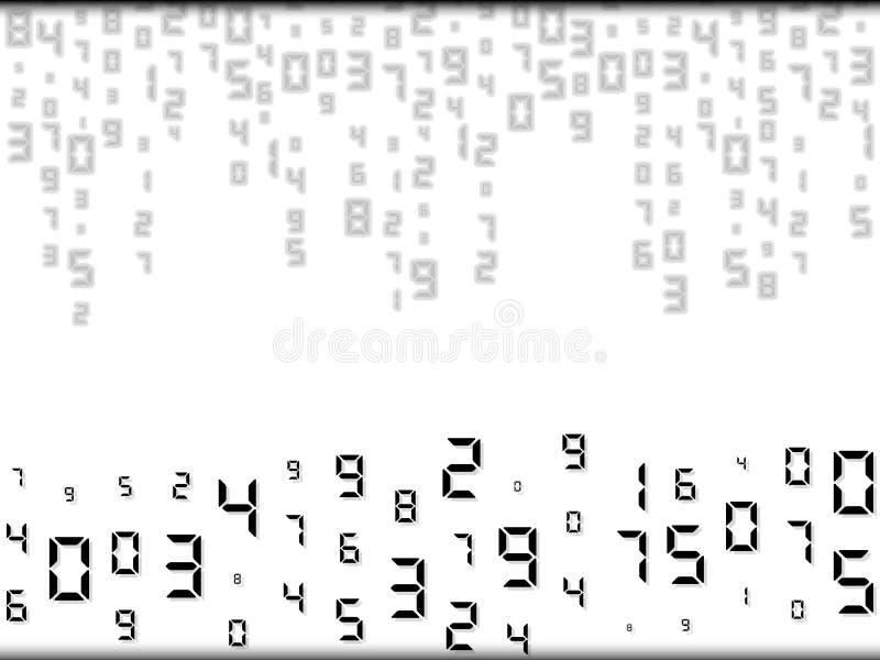 Ψηφιακός αφηρημένος μειωμένος κώδικας Τυχαία τοποθέτηση, διαφορετικά μεγέθη Διανυσματική απεικόνιση, υπόβαθρο διανυσματική απεικόνιση