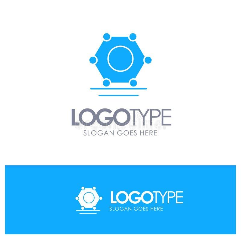 Ψηφιακός, δίκτυο, έξοχο συνδεδεμένο μπλε στερεό λογότυπο με τη θέση για το tagline ελεύθερη απεικόνιση δικαιώματος