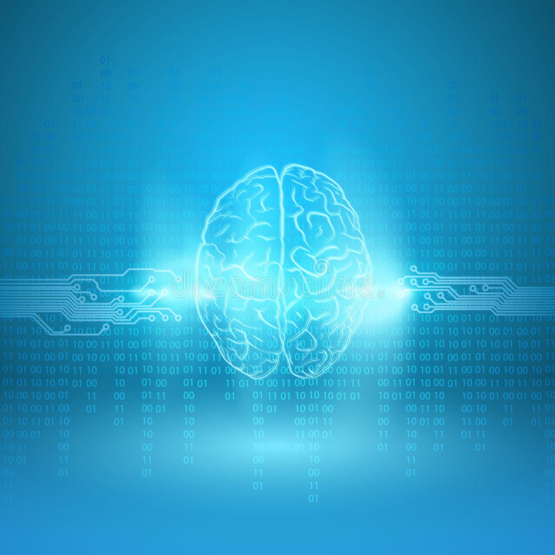 Ψηφιακός εγκέφαλος στο μπλε υπόβαθρο απεικόνιση αποθεμάτων