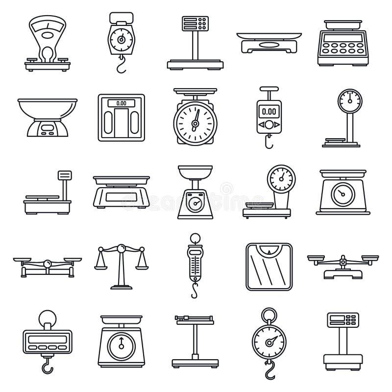 Ψηφιακός ζυγίστε τα εικονίδια κλιμάκων καθορισμένα, περιγράφει το ύφος ελεύθερη απεικόνιση δικαιώματος