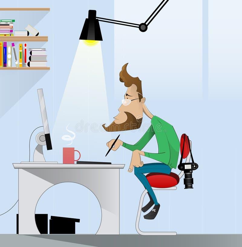 Ψηφιακός ζωγράφος τέχνης στην εργασία ελεύθερη απεικόνιση δικαιώματος