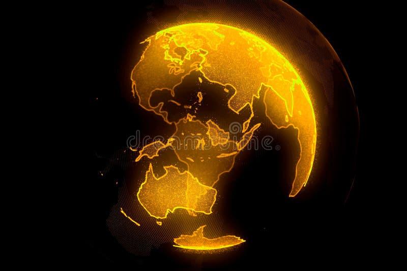 Ψηφιακός κίτρινος πλανήτης της γης Σφαίρα με τις λάμποντας ηπείρους τρισδιάστατη απεικόνιση με την ψηφιακά γη και τα μόρια ελεύθερη απεικόνιση δικαιώματος