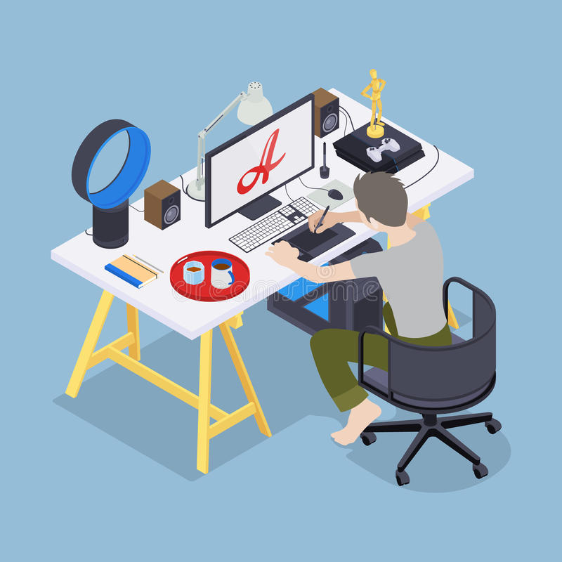 Ψηφιακός καλλιτέχνης στον εργασιακό χώρο του διανυσματική απεικόνιση