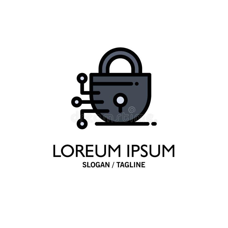 Ψηφιακός, κλειδαριά, πρότυπο επιχειρησιακών λογότυπων τεχνολογίας Επίπεδο χρώμα ελεύθερη απεικόνιση δικαιώματος