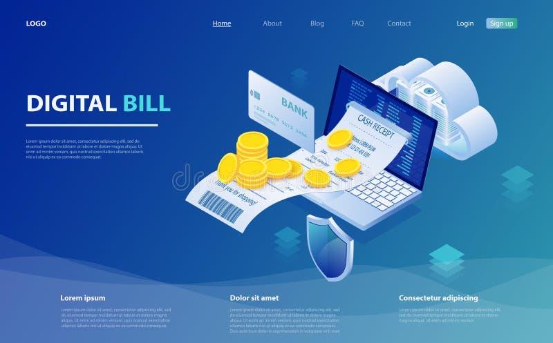 Ψηφιακός λογαριασμός και σε απευθείας σύνδεση τράπεζα, lap-top με την ταινία ελέγχου Σε απευθείας σύνδεση πληρωμή λογαριασμών ελεύθερη απεικόνιση δικαιώματος