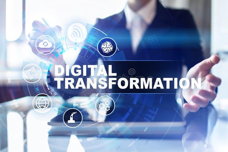 Ψηφιακός μετασχηματισμός, έννοια της ψηφιακής αναλογικής μεταλλαγής των επιχειρησιακών διαδικασιών και σύγχρονη τεχνολογία στοκ εικόνα με δικαίωμα ελεύθερης χρήσης
