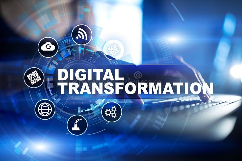 Ψηφιακός μετασχηματισμός, έννοια της ψηφιακής αναλογικής μεταλλαγής των επιχειρησιακών διαδικασιών και σύγχρονη τεχνολογία διανυσματική απεικόνιση