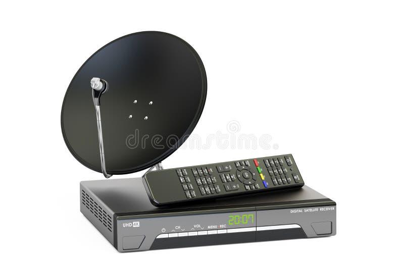 Ψηφιακός δορυφορικός δέκτης με το δορυφορικό πιάτο, telecommunicatio απεικόνιση αποθεμάτων