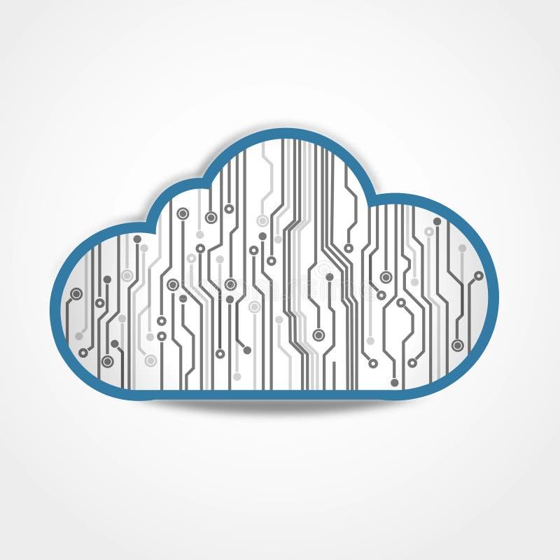 Ψηφιακός πίνακας κυκλωμάτων σύννεφων διανυσματική απεικόνιση