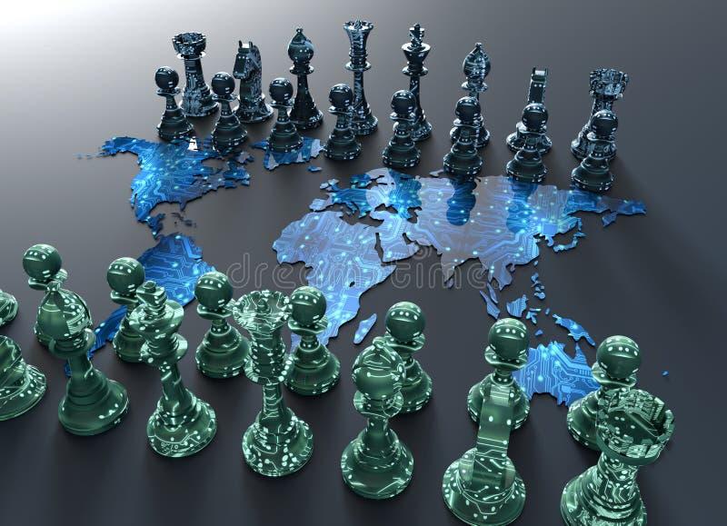 Ψηφιακός πίνακας σκακιού παγκόσμιων χαρτών με το παιχνίδι σκακιού διανυσματική απεικόνιση