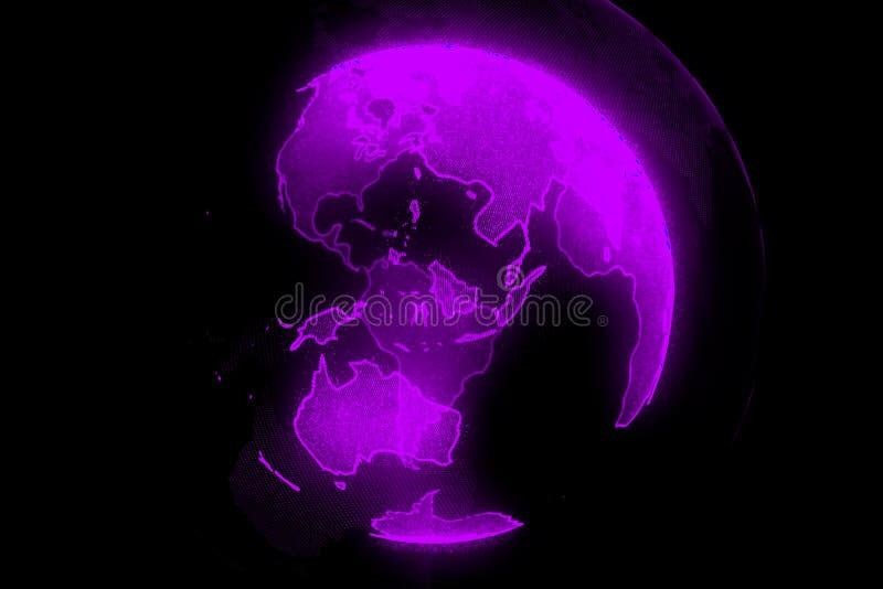 Ψηφιακός πλανήτης νέου της γης Σφαίρα με τις λάμποντας ηπείρους τρισδιάστατη απεικόνιση με την ψηφιακά γη και τα μόρια διανυσματική απεικόνιση