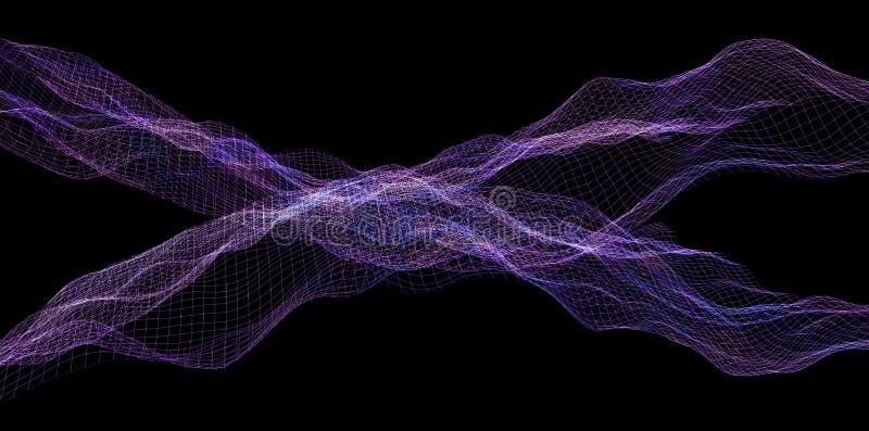 Ψηφιακός πορφυρός κυματισμός κυμάτων υποβάθρου αφηρημένος απεικόνιση αποθεμάτων