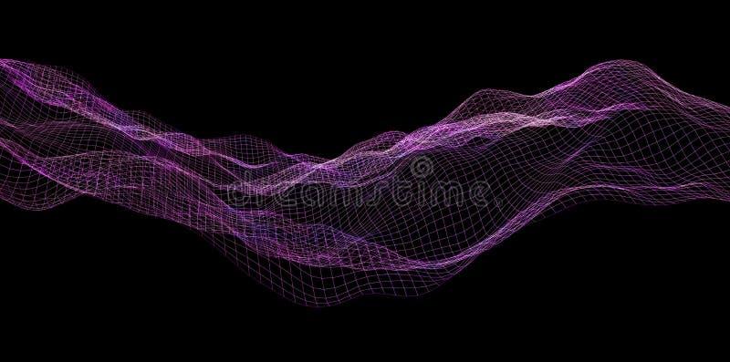 Ψηφιακός πορφυρός κυματισμός κυμάτων υποβάθρου αφηρημένος ελεύθερη απεικόνιση δικαιώματος