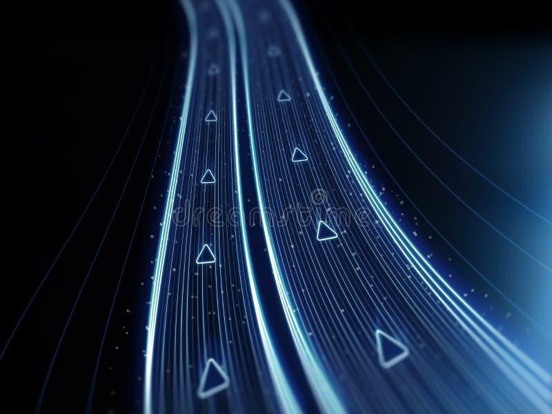 Ψηφιακός δρόμος νέου - εθνική οδός τεχνολογίας μητρών - διαστημική σύσταση Cyper - οδηγώντας στοιχεία ελεύθερη απεικόνιση δικαιώματος