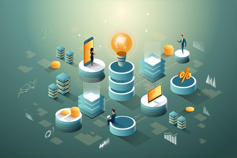 Ψηφιακός isometric infographic πυρήνων, επιχειρήσεων, χρηματοδότησης και στοιχείων δικτύων με την ιδέα των ανθρώπων διανυσματική απεικόνιση