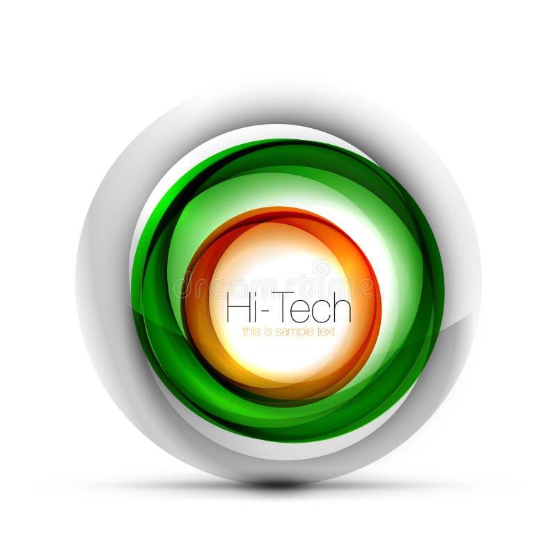 Ψηφιακό έμβλημα, κουμπί ή εικονίδιο Ιστού σφαιρών techno με το κείμενο Στιλπνό στροβίλου σχέδιο κύκλων χρώματος αφηρημένο, υψηλή  απεικόνιση αποθεμάτων