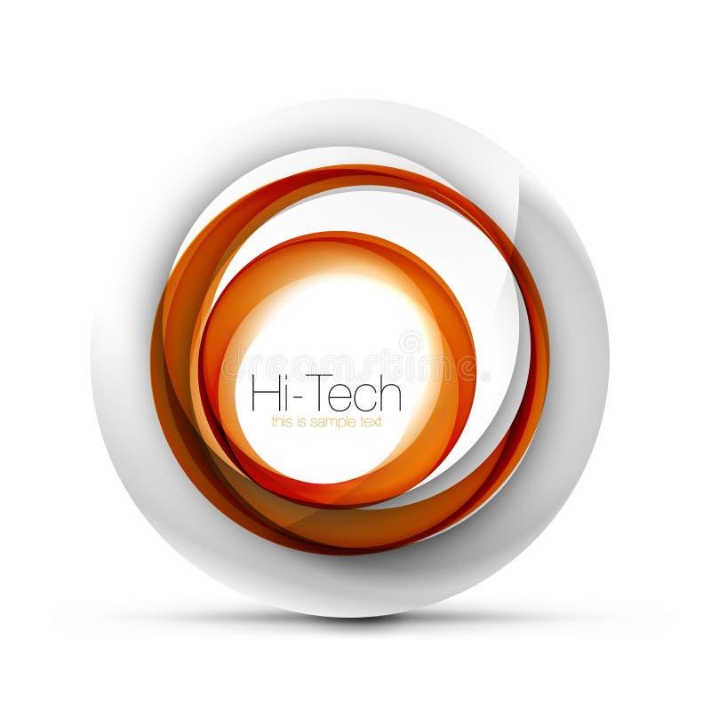 Ψηφιακό έμβλημα, κουμπί ή εικονίδιο Ιστού σφαιρών techno με το κείμενο Στιλπνό στροβίλου σχέδιο κύκλων χρώματος αφηρημένο, υψηλή  διανυσματική απεικόνιση