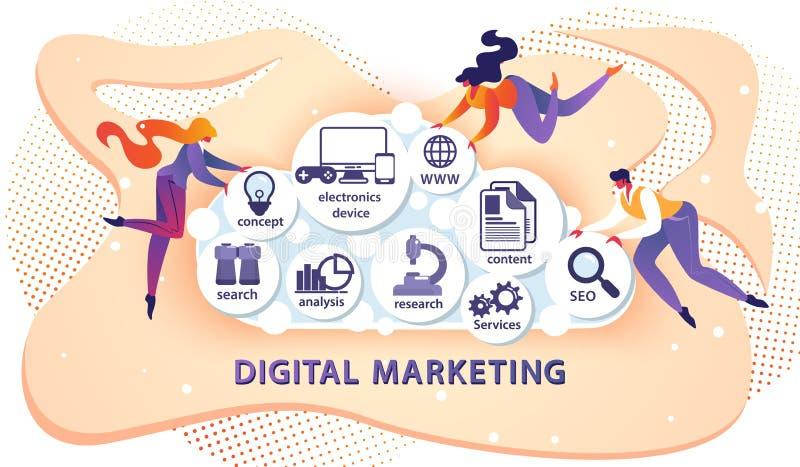 Ψηφιακό έμβλημα μάρκετινγκ με τους μικρούς περιστασιακούς ανθρώπους ελεύθερη απεικόνιση δικαιώματος