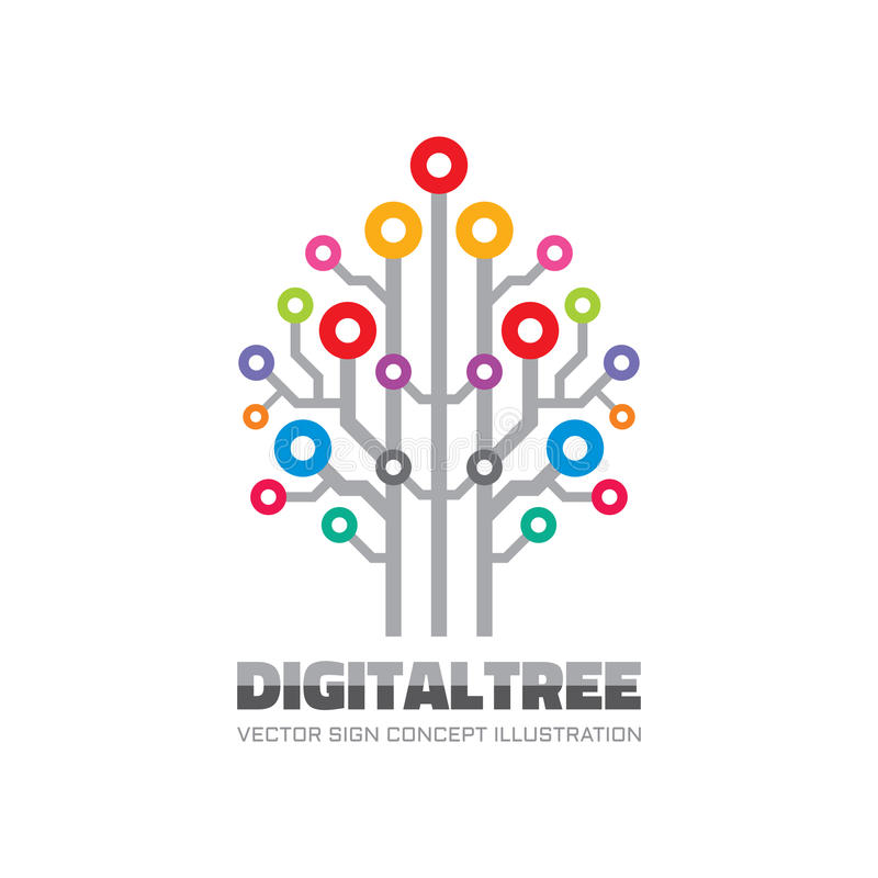 Ψηφιακό δέντρο - διανυσματική απεικόνιση έννοιας προτύπων σημαδιών λογότυπων στο επίπεδο ύφος Σημάδι τεχνολογίας δικτύων υπολογισ απεικόνιση αποθεμάτων