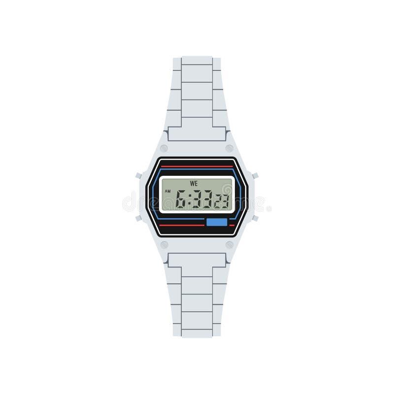 Ψηφιακό αναδρομικό ρολόι στο άσπρο υπόβαθρο επίσης corel σύρετε το διάνυσμα απεικόνισης διανυσματική απεικόνιση
