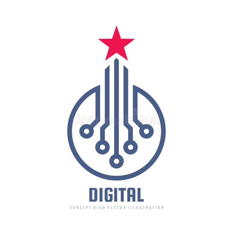 Ψηφιακό αστεριών σχέδιο λογότυπων εκτίμησης διανυσματικό Σημάδι έννοιας τεχνολογίας στοιχείων Εικονίδιο ίδρυσης επιχείρησης Σύμβο διανυσματική απεικόνιση