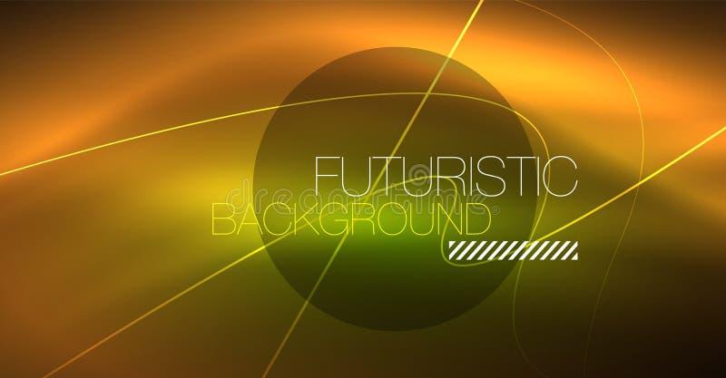 Ψηφιακό αφηρημένο υπόβαθρο τεχνολογίας - γεωμετρικό σχέδιο νέου αφηρημένες καμμένος γραμμές ζωηρόχρωμο techno ανασκόπησης απεικόνιση αποθεμάτων