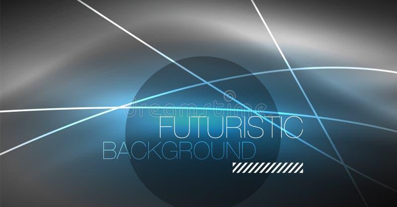 Ψηφιακό αφηρημένο υπόβαθρο τεχνολογίας - γεωμετρικό σχέδιο νέου αφηρημένες καμμένος γραμμές ζωηρόχρωμο techno ανασκόπησης ελεύθερη απεικόνιση δικαιώματος