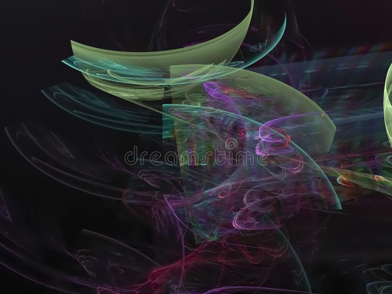 Ψηφιακό αφηρημένο fractal, δημιουργικός επιστημονικός ιδέας καθιστά ethereal λάμπει, δονούμενος μαγικός διακοσμητικός, κομψός διανυσματική απεικόνιση