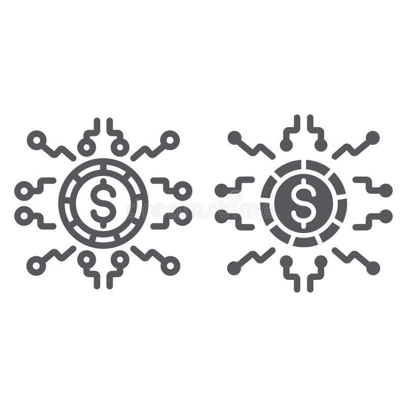 Ψηφιακό γραμμή χρημάτων και glyph εικονίδιο, χρηματοδότηση και τραπεζικές εργασίες, ψηφιακό σημάδι νομίσματος, διανυσματική γραφι διανυσματική απεικόνιση