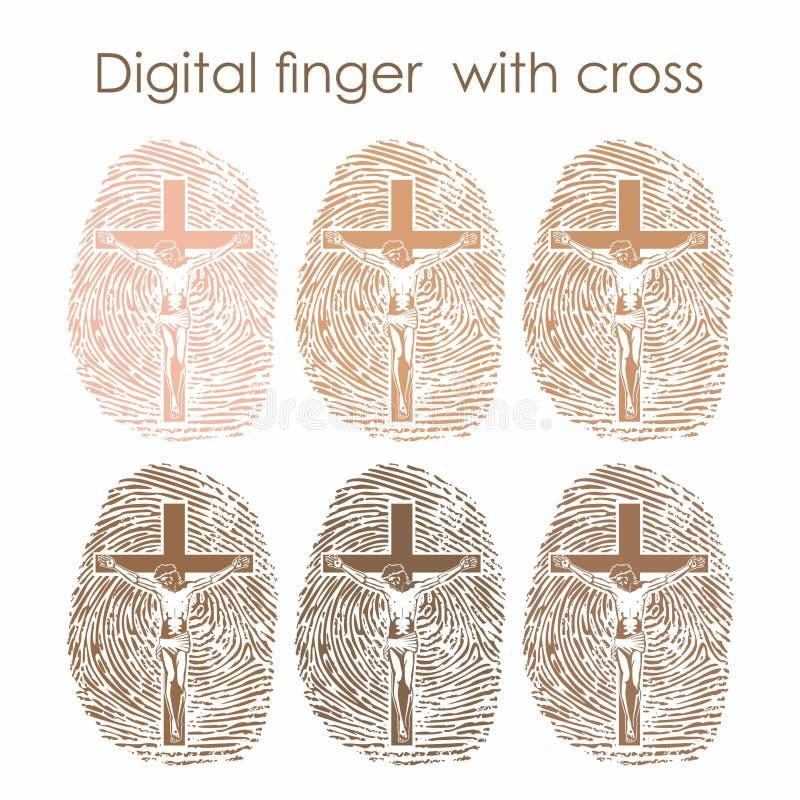 Ψηφιακό δάχτυλο με το σταυρό χριστιανικό σύμβολο διανυσματική απεικόνιση