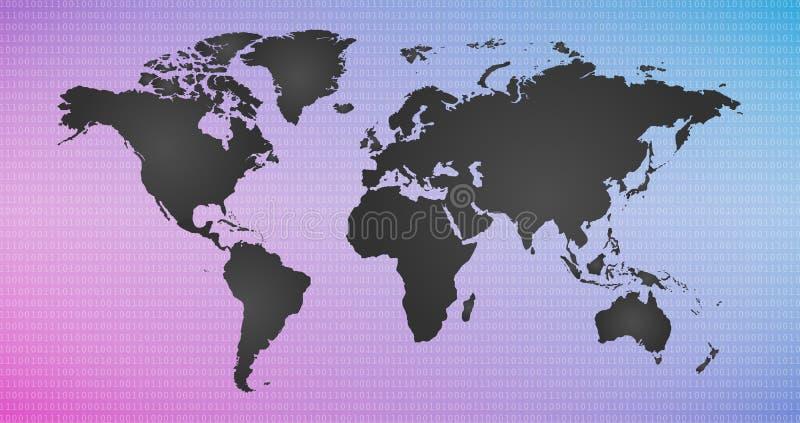 Ψηφιακό διανυσματικό ζωηρόχρωμο υπόβαθρο με τον παγκόσμιο χάρτη, κόσμος πληροφοριών, cyber ασφάλεια, ψηφιακή δυαδική έννοια τεχνο διανυσματική απεικόνιση