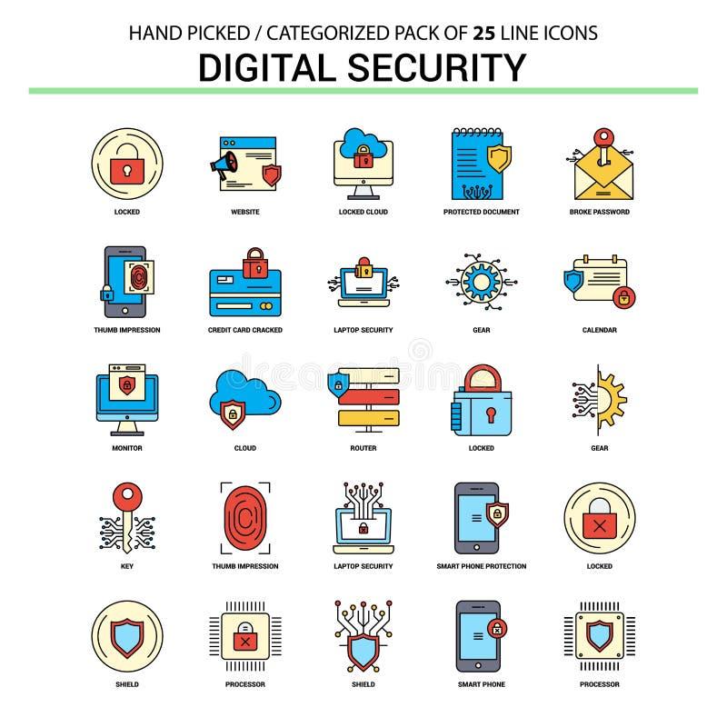 Ψηφιακό εικονίδιο γραμμών ασφάλειας επίπεδο καθορισμένο - εικονίδια Des επιχειρησιακής έννοιας ελεύθερη απεικόνιση δικαιώματος
