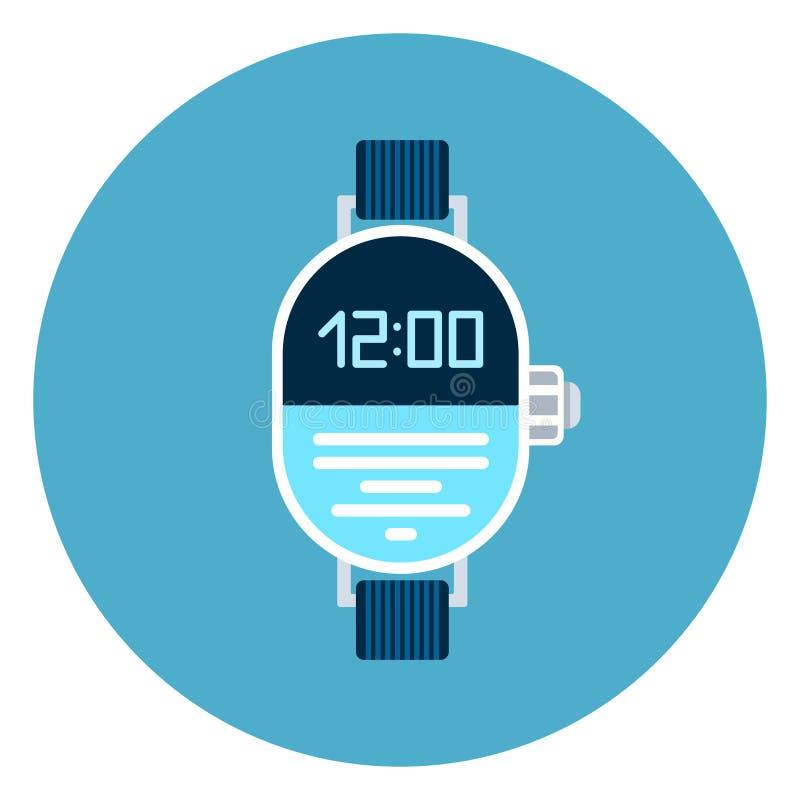 Ψηφιακό εικονίδιο Wristwatch στο μπλε στρογγυλό υπόβαθρο διανυσματική απεικόνιση