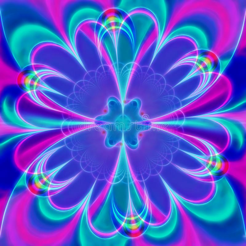 Ψηφιακό ιώδες λουλούδι, υπολογιστής που παράγονται, τρισδιάστατη δίνοντας fractal τέχνη διανυσματική απεικόνιση