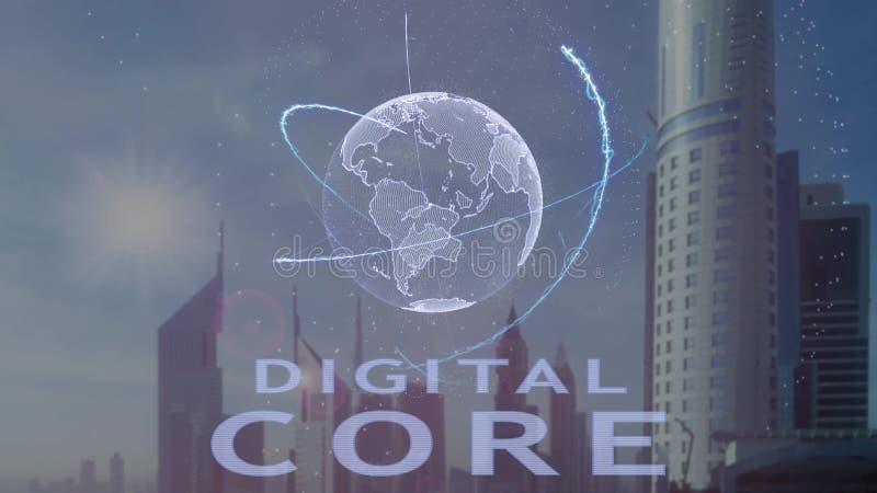 Ψηφιακό κείμενο πυρήνων με το τρισδιάστατο ολόγραμμα του πλανήτη Γη ενάντια στο σκηνικό της σύγχρονης μητρόπολης ελεύθερη απεικόνιση δικαιώματος
