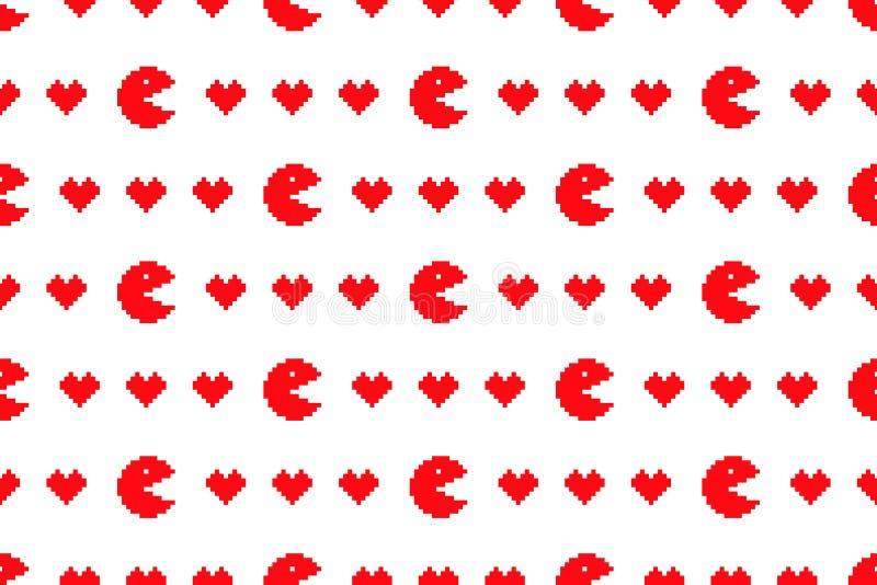 Ψηφιακό κόκκινο άνευ ραφής σχέδιο καρδιών στοκ εικόνες με δικαίωμα ελεύθερης χρήσης