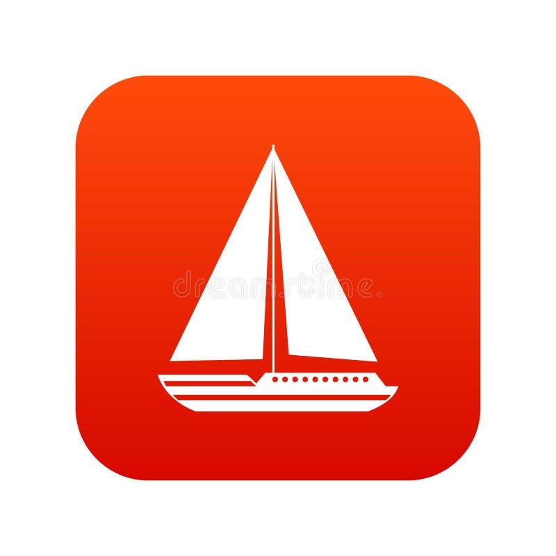 Ψηφιακό κόκκινο εικονιδίων γιοτ θάλασσας διανυσματική απεικόνιση