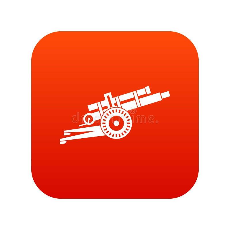 Ψηφιακό κόκκινο εικονιδίων πυροβόλων όπλων πυροβολικού απεικόνιση αποθεμάτων