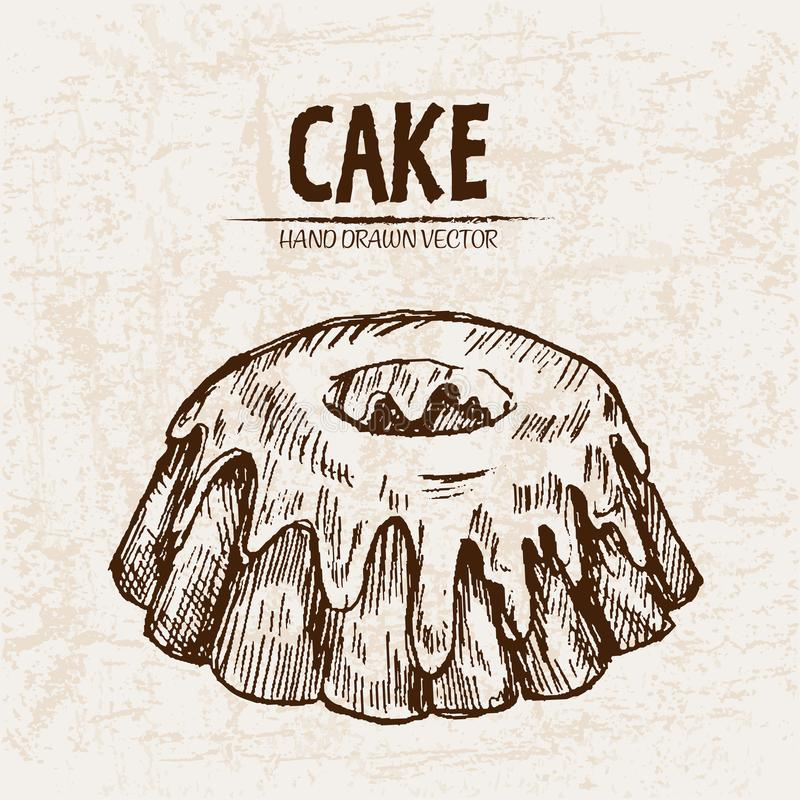 Ψηφιακό λεπτομερές κέικ ηφαιστείων τέχνης γραμμών ελεύθερη απεικόνιση δικαιώματος
