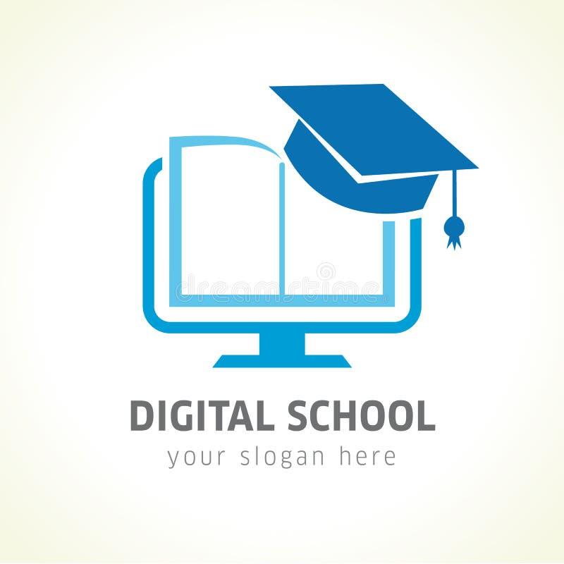 Ψηφιακό λογότυπο εκπαίδευσης σχολικών βιβλίων σε απευθείας σύνδεση απεικόνιση αποθεμάτων