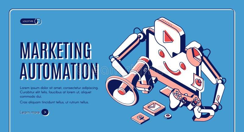 Ψηφιακό μάρκετινγκ έμβλημα Ιστού αυτοματοποίησης isometric ελεύθερη απεικόνιση δικαιώματος