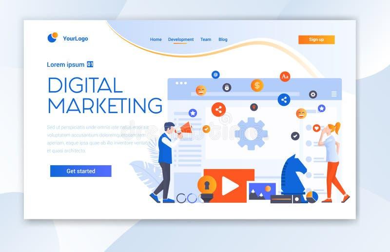 Ψηφιακό μάρκετινγκ αντιπροσωπείας ιστοχώρου πρότυπο σελίδων Ui προσγειωμένος στοκ εικόνες