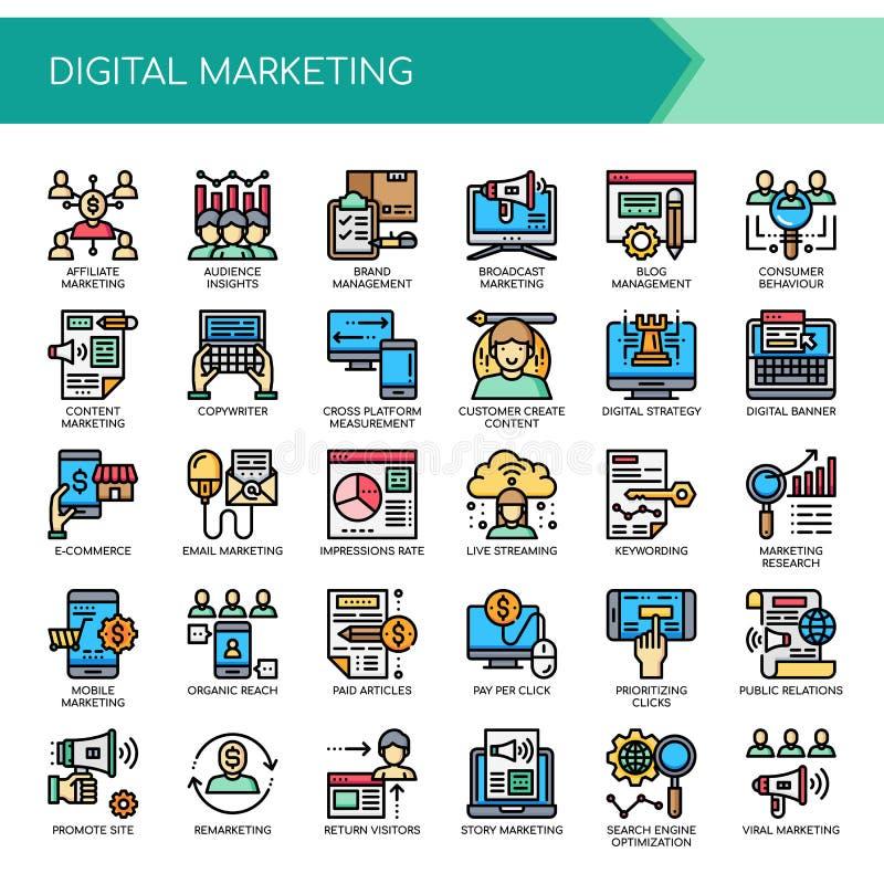 Ψηφιακό μάρκετινγκ, τέλεια εικονίδια εικονοκυττάρου ελεύθερη απεικόνιση δικαιώματος