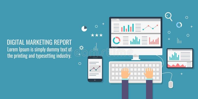 Ψηφιακό μάρκετινγκ, analytics στοιχείων, πληροφορίες, έρευνα αγοράς, λογιστικός έλεγχος, επιχειρησιακός προγραμματισμός και έννοι απεικόνιση αποθεμάτων