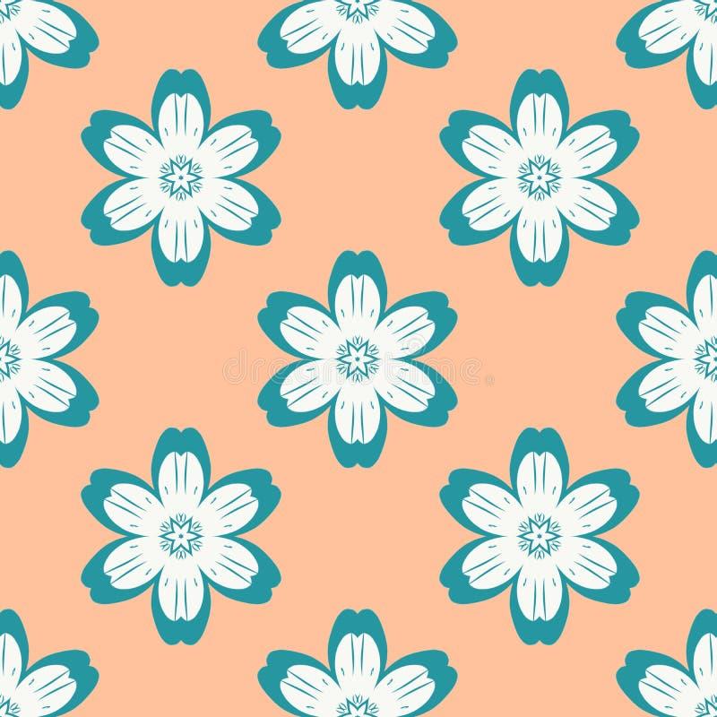 Ψηφιακό μπλε απλό άνευ ραφής σχέδιο λουλουδιών στο πορτοκάλι ελεύθερη απεικόνιση δικαιώματος
