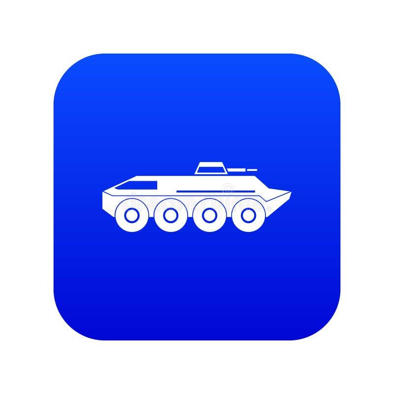 Ψηφιακό μπλε εικονιδίων τεθωρακισμένων οχημάτων μεταφοράς προσωπικού διανυσματική απεικόνιση