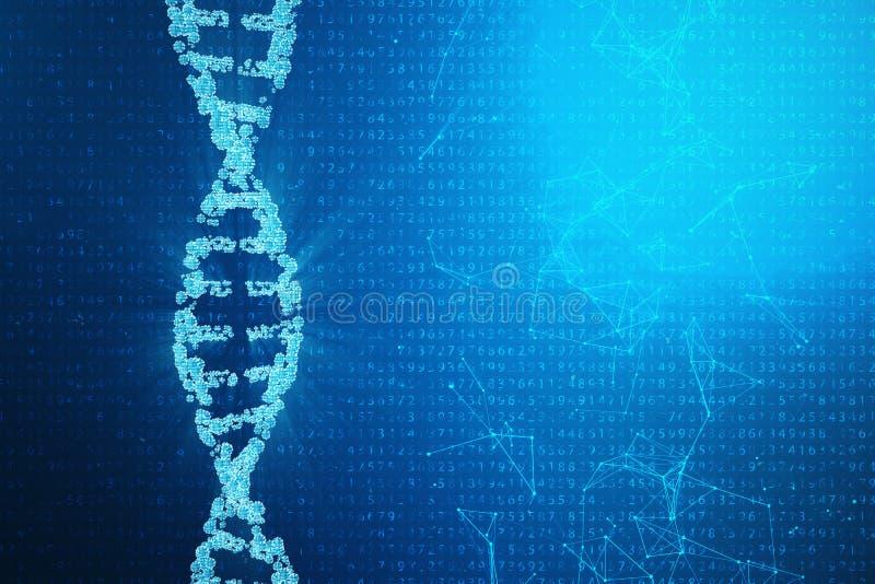 Ψηφιακό μόριο DNA, δομή Ανθρώπινο γονιδίωμα δυαδικού κώδικα έννοιας Μόριο DNA με τα τροποποιημένα γονίδια τρισδιάστατη απεικόνιση διανυσματική απεικόνιση