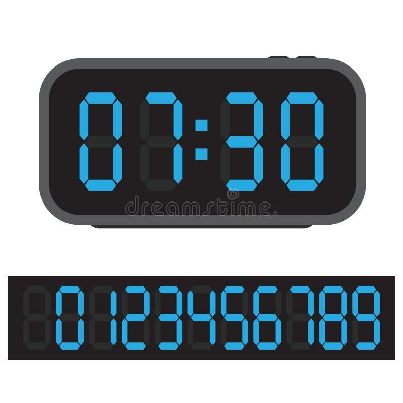 Ψηφιακό ξυπνητήρι, μπλε ψηφιακό ρολόι και σύνολο αριθμών πυράκτωσης επίσης corel σύρετε το διάνυσμα απεικόνισης διανυσματική απεικόνιση